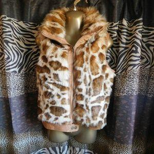 Faux fur animal print vest